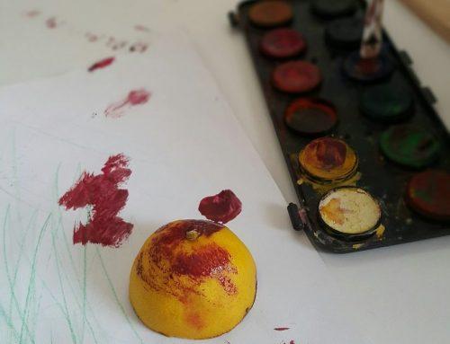 Sulu boya ile renkli limon baskısı