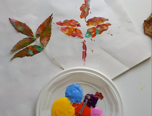 Sonbahar Yaprakları ile Parmak Boya Baskısı